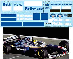 1/18 ROTHMANS FW19 1997 WILLIAMS RENAULT SPONSOR  DECALS TB DECAL TBD169