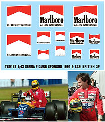 1/43 MARLBORO SENNA FIGURE SPONSOR  & TAXI  1991 BRITISH F1 GP DECALS TB DECAL TBD187