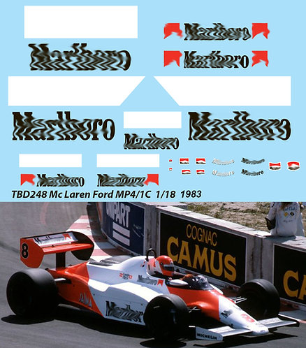 1/18 McLaren Ford MP4/1C 1983 Niki Lauda J. Watson Decals TB Decal TBD248