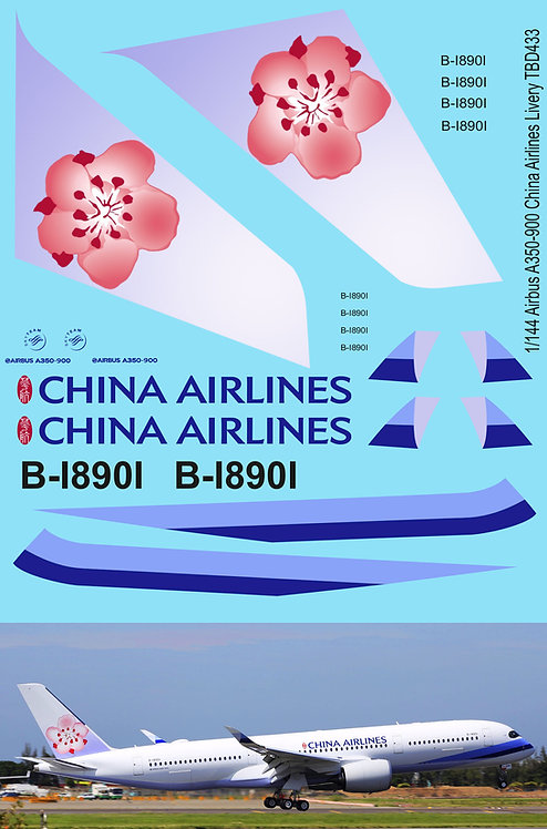 1/144 Decals for Airbus A350 - 900 China Airlines Livery TB Decal TBD433