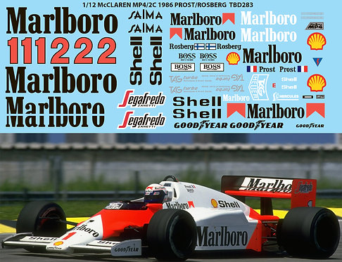 1/12 McLaren  MP4/2 MP4/2B MP4/2C 1986 Prost Roseberg decals Decal TBD283