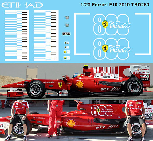 1/20 Ferrari F10 2010 Barcode & 800 Grand Prix F1 Decals TB Decal TBD260