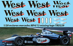 1/20 WEST MP4/13 MCLAREN MERCEDES TAMIYA KIT DECALS TB DECAL TBD229