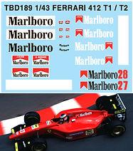 1/43 MARLBORO FERRARI 412 T1 / T2  G.BERGER J.ALESI DECALS TB DECAL TBD189