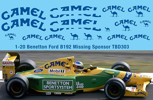 1/20  B192 Benetton Ford F1 1992 Decal Missing Sponsor Decals  TBD303