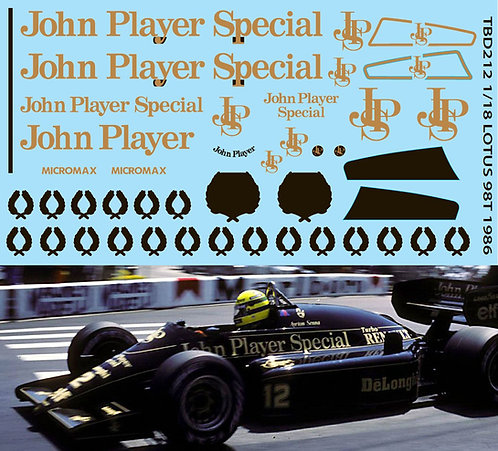 1/18 F1 LOTUS 98T 1986 MISSING JPS DECALS  TBD212
