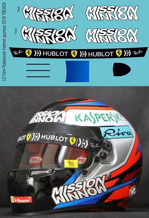 1/2 Kimi Raikkonen Helmet sponsor 2018 Decals TB Decal TBD426
