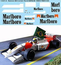 1/43 MARLBORO FOR McLAREN FORD MP4/8 AYRTON SENNA 1993 F1 DECALS TB DECAL TBD105