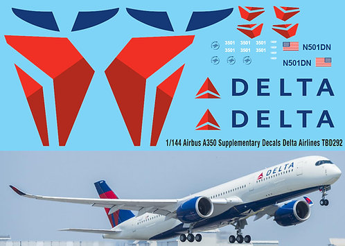 1/144  Airbus A350  Supplementary Decals  DELTA AIRLINES Livery  Decal TBD292