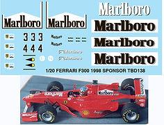 1/20 MARLBORO FERRARI F300 1998 SPONSOR MICHAEL SCHUMACHER DECALS TB DECAL TBD138