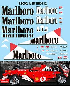 1/18 MARLBORO FERRARI F1 F2002 F 2002 MICHAEL SCHUMACHER SPONSOR  DECALS TB DECAL TBD112