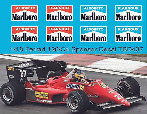 1/18 Decals for Ferrari 126/C4 Alboreto Arnoux Decal TBD437