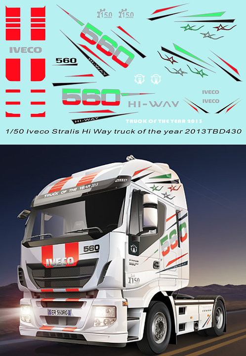 1/50 Iveco Stralis Hi Way truck of the year 2013 Decals TB Decal TBD430