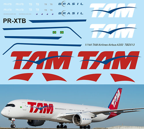 1/144 Decals for Airbus A350 TAM Airlines Livery  TB Decal TBD513