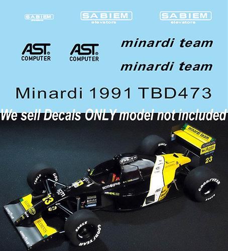 1/43 Sponsor Decals for Minardi M191 TB Decal TBD473