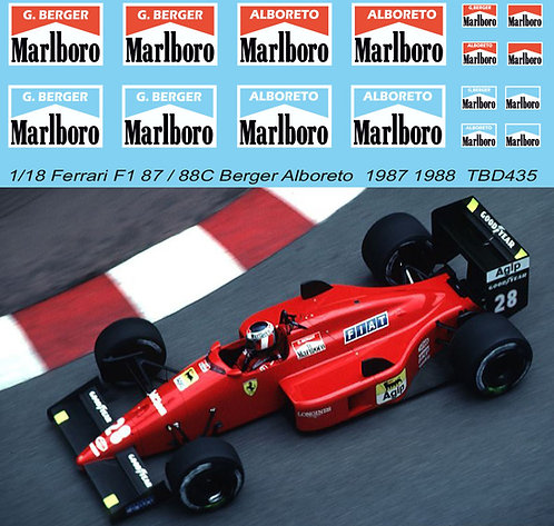 1/18 Decals for Ferrari F1 87 / 88C Berger Alboreto  1987 1988  TB Decal TBD435