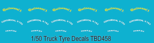 1/50 Continental Yellow Tire Decals for Trucks   Tyre Pneumatici  Lorry TBD458