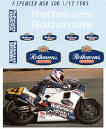 1/12 HONDA NSR 500 FREDDIE SPENCER 1985 ROTHMANS DECALS TB DECAL TBD22