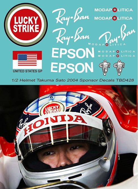 1/2 Helmet Takuma Sato 2004 Sponsor Decals TBD428