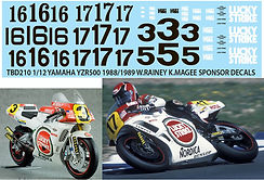 1/12 LUCKY STRIKE YAMAHA YZR500 1988 /1989 RAINEY MAGEE HASEGAWA   DECALS TB DECAL TBD210