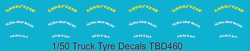 1/50 GoodYear Yellow Tire Decals for Trucks  Tyre Pneumatici  Lorry TBD460