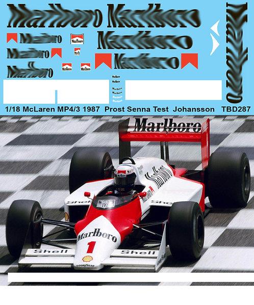 1/18 McLAREN  MP4/3 1987 PROST SENNA TEST JOHANSSON DECALS  DECAL TBD287