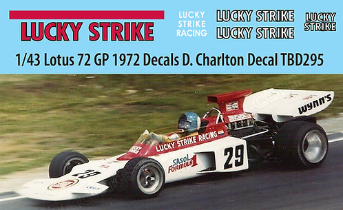 1/43 Lotus 72  GP 1972  Decals  D . Charlton British  Decal TBD295
