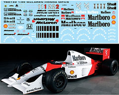 1/20 MARLBORO MCLAREN MP4/6 FOR FUJIMI  AYRTON SENNA / BERGER  DECALS TB DECAL TBD182