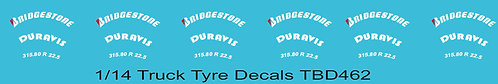 1/14 Bridgestone Red  B Tire Decals for Trucks  Tyre Pneumatici  Lorry TBD462