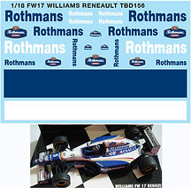 1/18 ROTHMANS FW17 WILLIAMS RENAULT DECALS TB DECAL TBD156