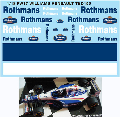 1/18 FW17 WILLIAMS RENAULT DECALS TB DECAL TBD156