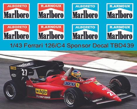 1/43 Decals for Ferrari 126/C4 Alboreto Arnoux Decal TBD439