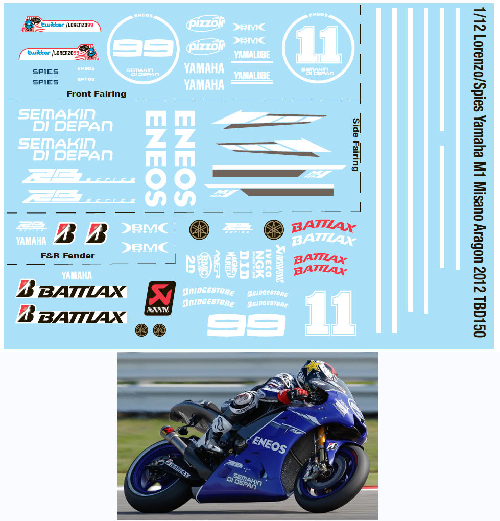 1//12 YAMAHA YZR500 1988 OW98 FOR HASEGAWA DECALS TB DECAL TBD164