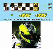 1/12 VALENTINO ROSSI 2009 QATAR NIGHT TEST HELMET  DECALS TB DECAL TBD39