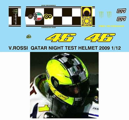 1/12 VALENTINO ROSSI 2009 QATAR TEST HELMET TBD39