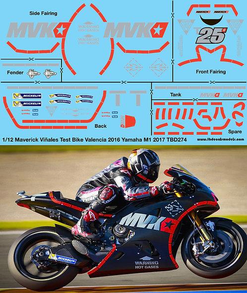 1/12 Yamaha M1 2017 Maverick Vinales Test Bike Valencia 2016  Decals TBD274