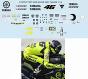 1/12 VALENTINO ROSSI QATAR TEST BIKE FIGURE 2007 DECALS TB DECAL TBD30