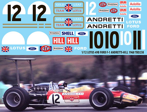 1/12 Lotus 49B Ford F1 Andretti Hill 1968 Decals TB Decal TBD238