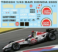 1/43 LUCKY STRIKE BAR HONDA 2005  SPONSOR DECALS TB DECAL TBD204