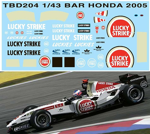 1/43 BAR HONDA 2005  SPONSOR DECALS TBD204