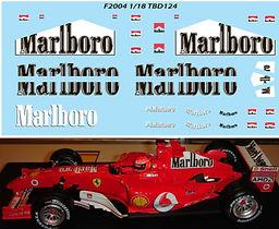 1/18 MARLBORO FERRARI F1 F2004 MICHAEL SCHUMACHER SPONSOR DECALS TB DECAL TBD124