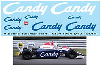 1/43 CANDY TOLEMAN HART TG184 1984 AYRTON SENNA DECALS TB DECAL TBD111
