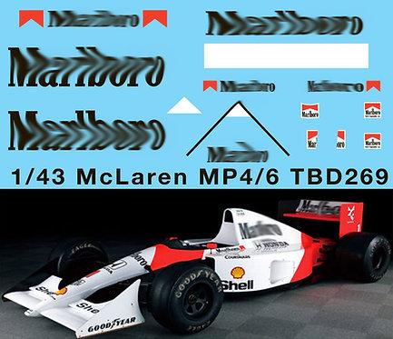 1/43 McLaren Honda MP4/6 Ayrton Senna G.Berger 1991 Decals TB Decal TBD269