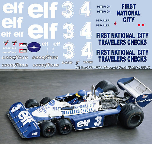 1/12 TYRRELL P34 MONACO 1977 PETERSON DEPAILLERDECALS TB DECAL TBD425