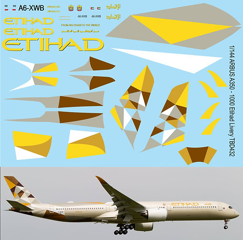 1/144 Airbus A350 - 1000 Etihad Livery Decals TB Decal TBD432