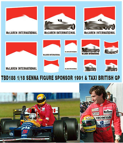 1/18 AYRTON SENNA FIGURE SPONSOR &TAXI 1991 TBD188