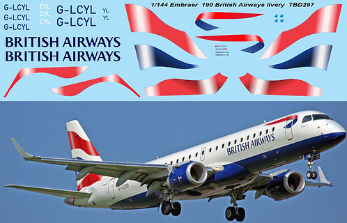 1/144 British Airways livery Decals for Embraer 190 Decal TBD297