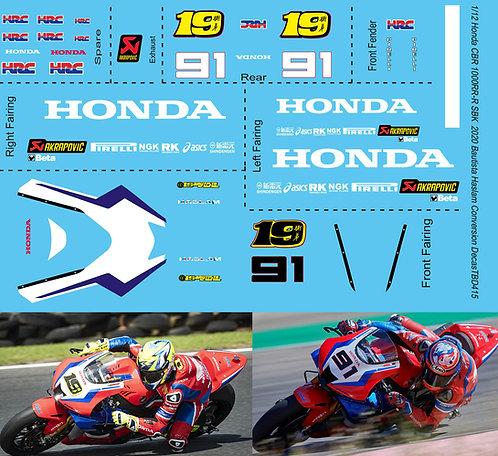 1/12 Honda CBR 1000RR-R SBK  2020 Bautista Haslam Superbike Conversion DECALS