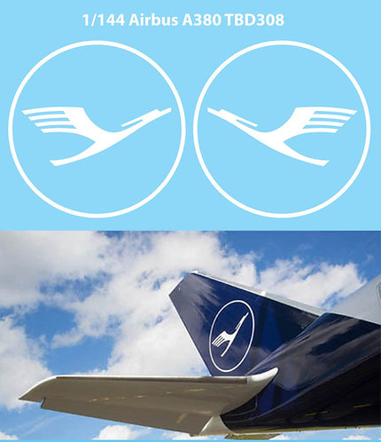 1/144 DECALS NEW  LUFTHANSA TAIL LOGO AIRBUS A380 DECAL TBD308