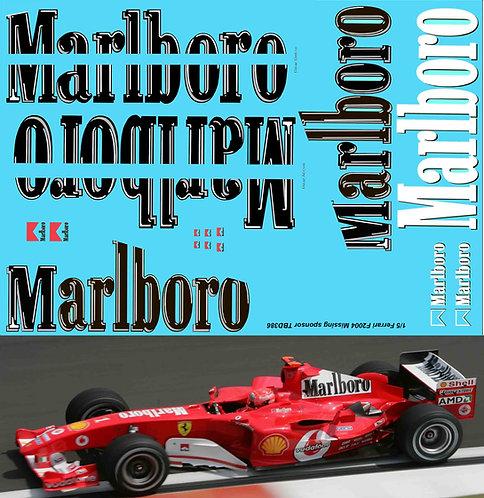 1/5 Ferrari F2004 Michael Schumacher Missing Sponsor Decals TB Decal TBD386